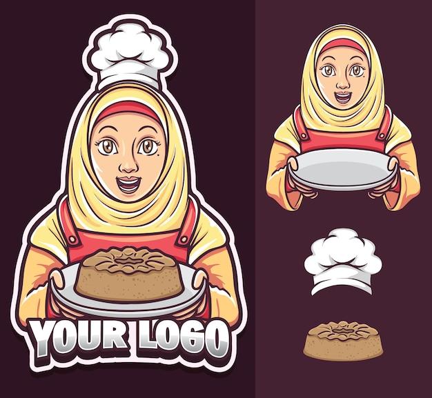 Hijab 로고를 입고 이슬람 소녀 요리사