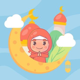이슬람교도 소녀 인사말 라마단 카림 이슬람