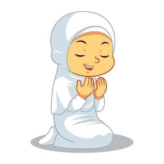 Moslem girl hajj praying