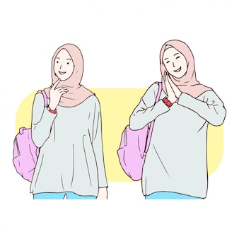 Moslem girl hand drawn illustration