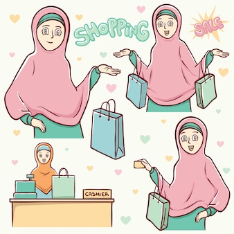 Moslem girls shopping illustration