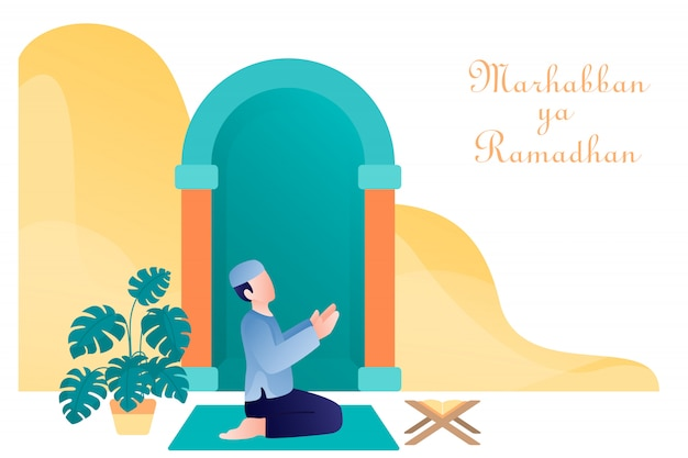 Moslem guy praying illustration