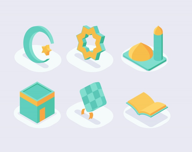 Moslem icon set collection with isometric style and green color theme