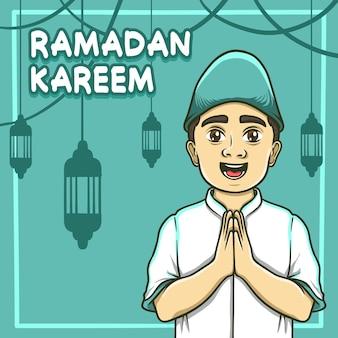 Moslem kid greeting happy eid mubarak illustration