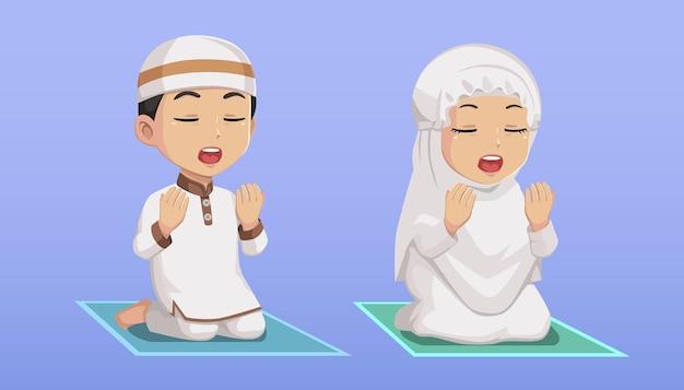 Moslem kids boy and girl praying bundle illustration