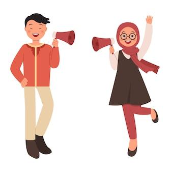 Мусульманские мужчина и женщина, используя мегафон для рекламной кампании. плоский стиль на белом фоне