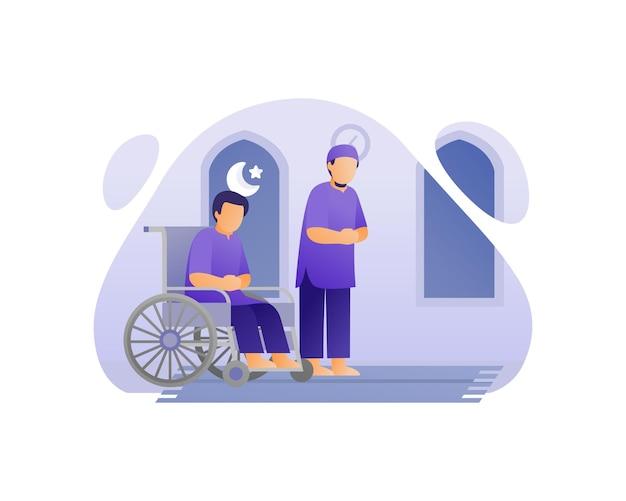 Moslem man salat on wheel chair at mosque illustration