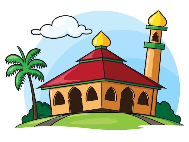 Moslem mosque building cartoon