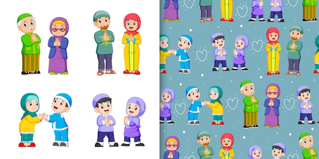 Moslem people greating each other, pattern and illustration set