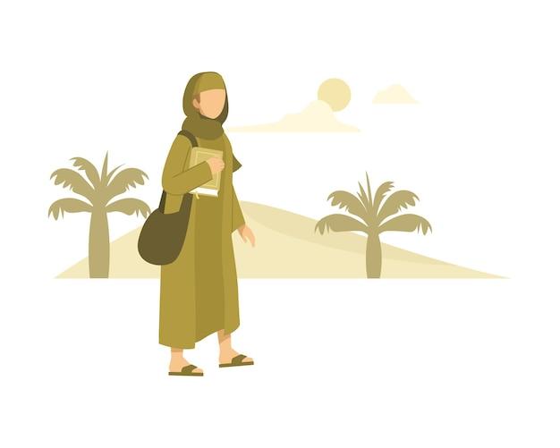 사막을 통해 학교 일러스트레이션으로 걸어가는 이슬람 학생