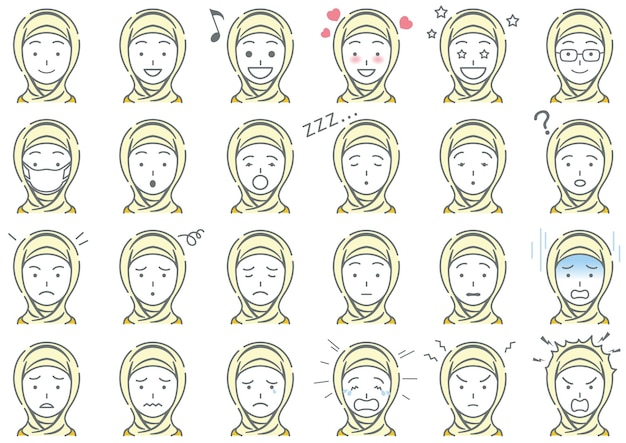 Moslem woman various facial expressions set isolated