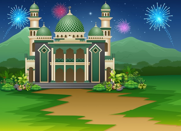 Mosque building with a view of fireworks in the sky