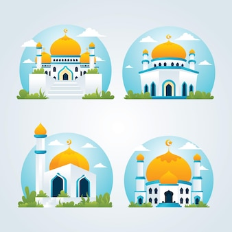 Mosque collections, modern islamic building with flat style