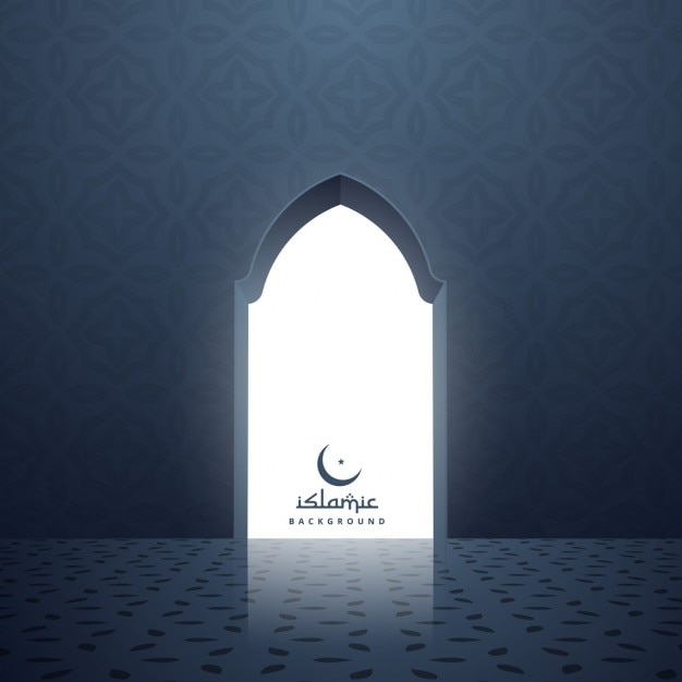 Mosque Door With White Light Coming Inside
