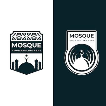 Mosque emblem of islamic illustration design
