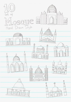 Mosque hand drawn in blank note paper vector style