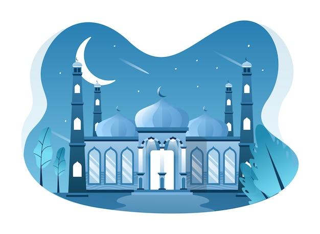 モスクのイラスト、イスラム教徒が祈りを捧げる場所。この図は、ウェブサイト、ランディングページ、ウェブ、アプリ、バナーに使用できます。