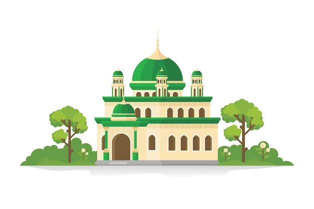 Mosque illustration with grass and trees, isolated on white