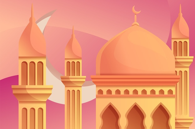 Mosque illustration with moon on the back