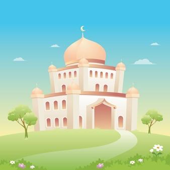自然の風景とモスクのイラスト