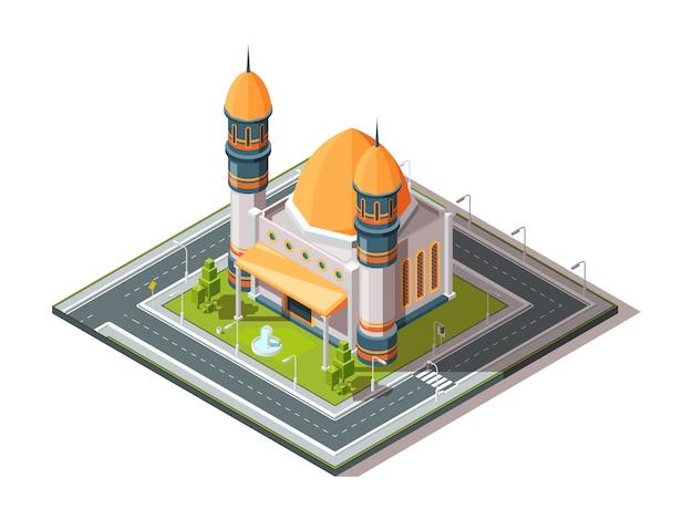Мечеть в городе. исламская мусульманская религия архитектурный объект в городской пейзаж изометрии