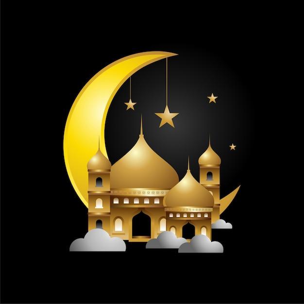 골드 컬러 디자인의 이슬람 모스크