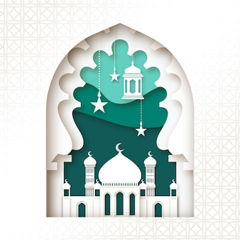 Mosque in layers of paper style eid mubarak