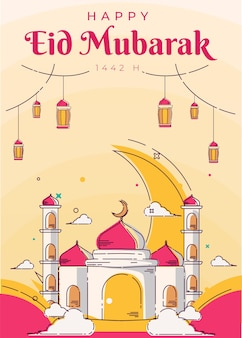 모스크 라인 아트 포스터 및 인사말 카드 배경 eid 무바라크 이슬람 일러스트