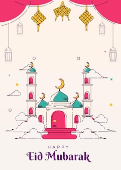 Mosque line art poster and greeting card background eid mubarak islamic illustrations