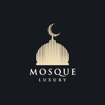 Мечеть логотип вектор простой роскошный значок иллюстрации дизайн