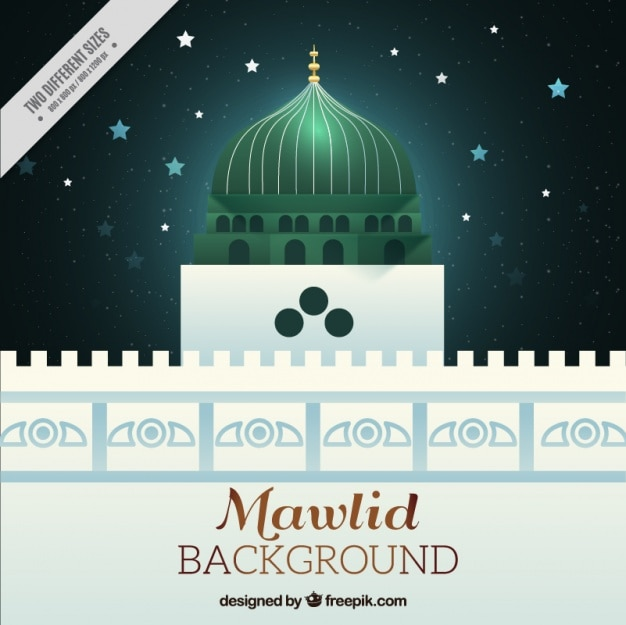Mosque mawlid background and starry sky