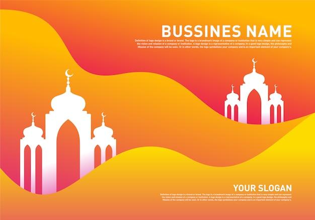 Mosque muslim icon simple background vector illustration design template. eid mubarak