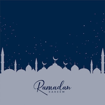 Mosque on blue stars background, ramadan kareem design