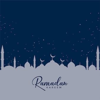 Мечеть на фоне синих звезд, дизайн рамадан карем