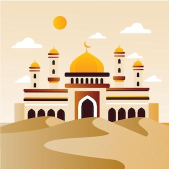 砂漠のイラストのモスク