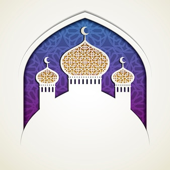 Mosque onion dome in paper art style