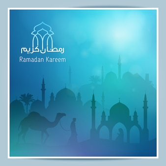 Mosque silhouette for greeting background of ramadan kareem