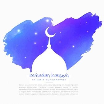 Мечеть силуэт в синем штриха