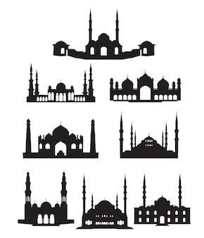 Силуэт мечети, изолированные на белом фоне