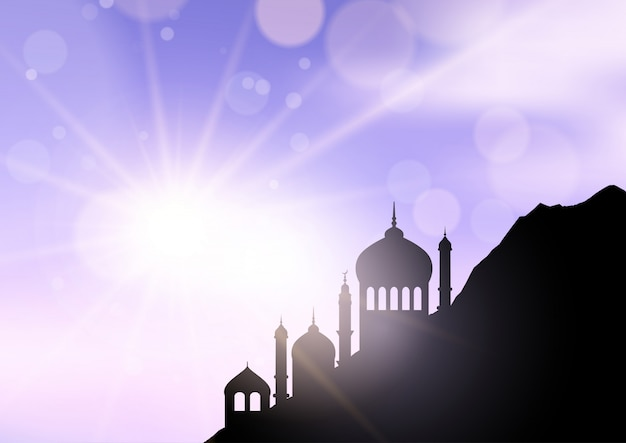 Mosque silhouette ramadan background