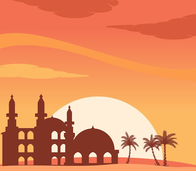 Mosque silhouette at sunset background
