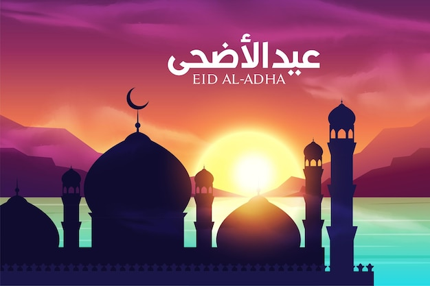 Mosque silhouette in sunset view with clouds and mountains. modern trendy banner or poster design.