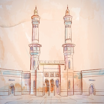 Mosque sketch masjid al haram in mecca saudi arabia