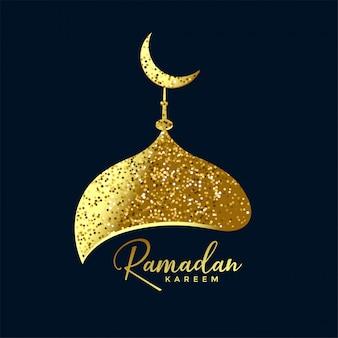 Mosque top made with golden glitter ramadan background