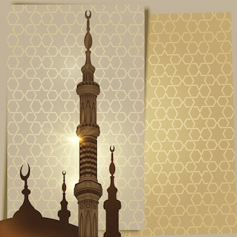 Mosque tower minaret on arabic ornament background