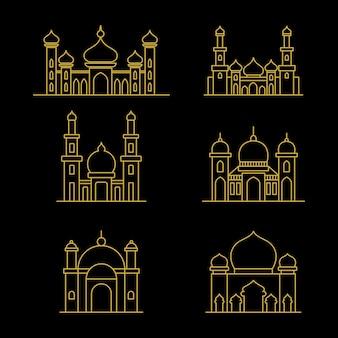 Мечеть векторные иллюстрации. мечеть исламский символ для знака рамадан карим. современное здание мечети. стиль линии искусства