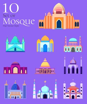 Mosque vector style. set of 10 mosque elements
