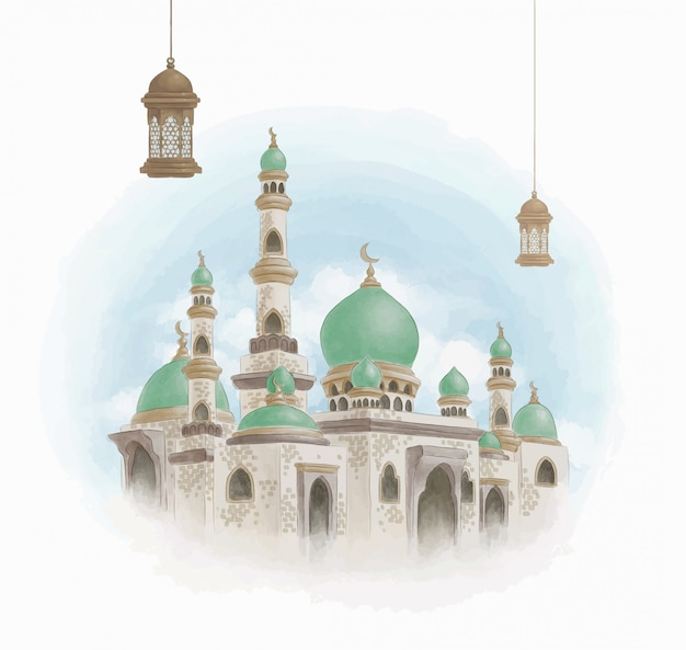 Mosque in watercolor panting style