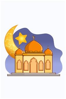 Mosque with beautiful moon at ramadan kareem cartoon illustration