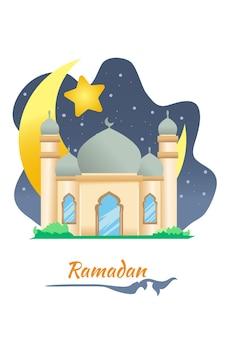 Mosque with moon and star at ramadan kareem cartoon illustration